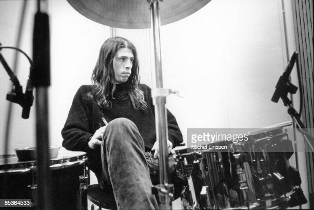 HILVERSUM Photo of Dave GROHL and NIRVANA Dave Grohl recording in Hilversum Studios posed at drums