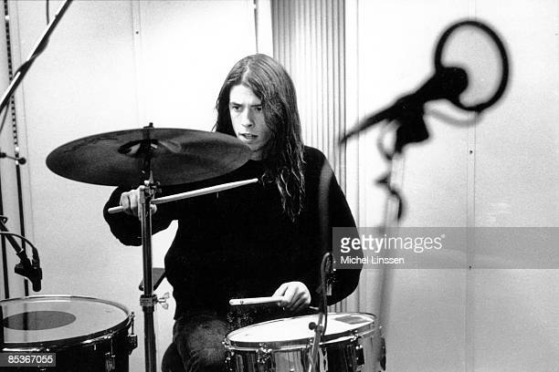 HILVERSUM Photo of Dave GROHL and NIRVANA Dave Grohl recording in Hilversum Studios playing drums
