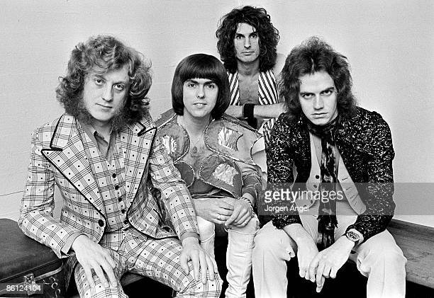 Photo of Dave HILL and SLADE and Noddy HOLDER and Don POWELL LR Noddy Holder Dave Hill Don Powell Jim Lea