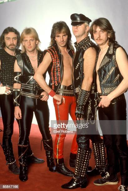 Photo of Dave HOLLAND and KK DOWNING and Rob HALFORD and JUDAS PRIEST and Ian HILL and Glenn TIPTON LR Ian Hill KK Downing Glenn Tipton Rob Halford...