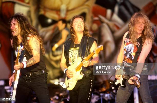 PARK Photo of Dave MURRAY and IRON MAIDEN and Steve HARRIS and Janick GERS LR Steve Harris Dave Murray Janick Gers performing live onstage