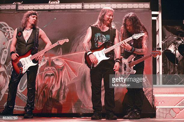 VISTALEGRE Photo of Dave MURRAY and Steve HARRIS and IRON MAIDEN and Adrian SMITH LR Adrian Smith Dave Murray Steve Harris performing live onstage
