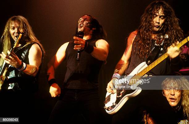 Photo of Dave MURRAY and Steve HARRIS and IRON MAIDEN and Blaze BAYLEY with Blaze Bayley singing LR Dave Murray Blaze Bayley Steve Harris and Janick...