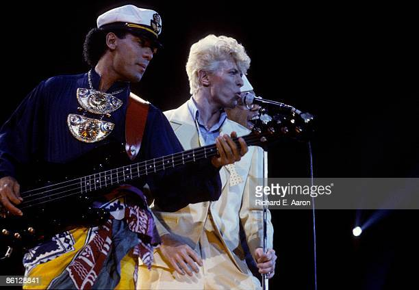 FORUM Photo of David BOWIE and Carmine ROJAS LR Carmine Rojas David Bowie performing live onstage at The Forum on Serious Moonlight tour