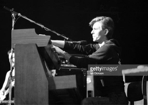 THEATRE Photo of David BOWIE playing keyboards performing live onstage in Iggy Pop's backing band during The Idiot tour