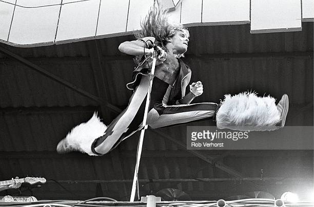 FESTIVAL Photo of David Lee ROTH and VAN HALEN David Lee Roth performing live onstage jumping