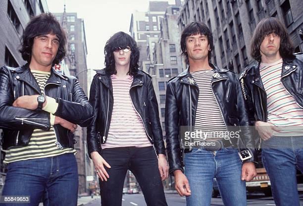 Photo of Dee Dee RAMONE and Joey RAMONE and Marky RAMONE and RAMONES LR Marky Ramone Joey Ramone Dee Dee Ramone Johnny Ramone