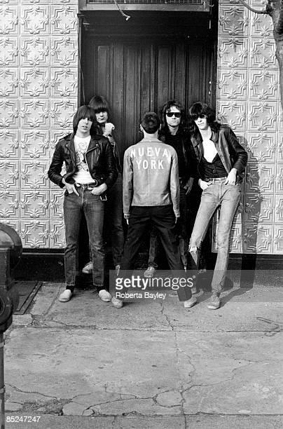 Photo of Dee Dee RAMONE and RAMONES and Johnny RAMONE and Joey RAMONE, L-R. Johnny Ramone , Dee Dee Ramone , Arturo Vega , Tommy Ramone, Joey Ramone