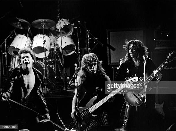LYCEUM Photo of Dennis STRATTON and Steve HARRIS and Paul DI'ANNO and IRON MAIDEN LR Paul Di'Anno Steve Harris Dennis Stratton performing live onstage