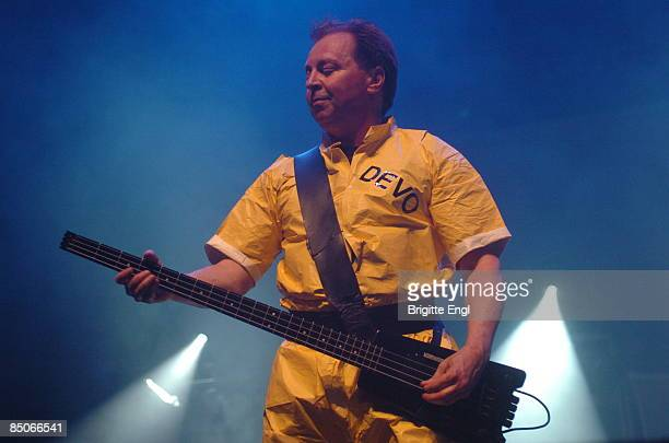 HALL Photo of DEVO Gerald Casale performing on stage as part of Jarvis Cocker's 'Meltdown' playing Steinberger LSeries bass guitar