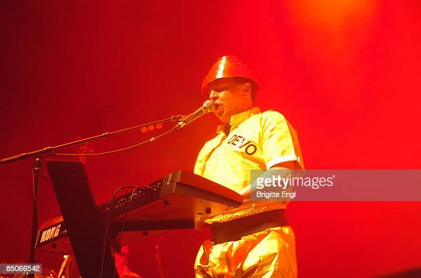 HALL Photo of DEVO Gerald Casale performing on stage as part of Jarvis Cocker's 'Meltdown' playing keyboards