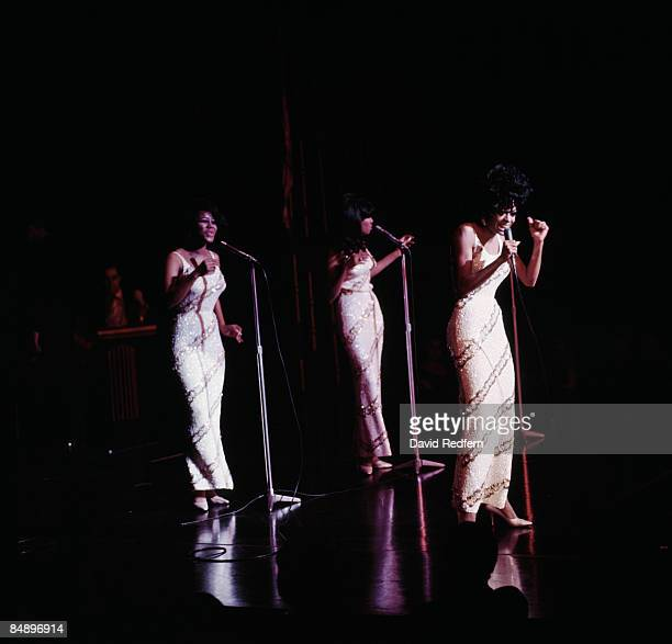 LONDON Photo of Diana ROSS and SUPREMES and Cindy BIRDSONG and Mary WILSON Group performing on stage LR Cindy Birdsong Mary Wilson and Diana Ross...