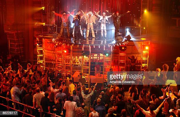 "Circa 1970: Photo of DISCO; The audience performs the 'YMCA' dance with The Village People at the ""ABC Disco Ball"" at the Shrine Auditorium in Los..."