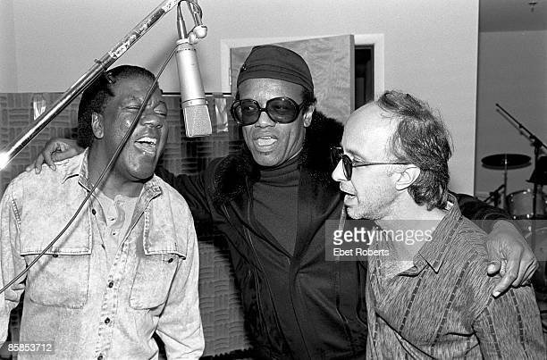 Photo of Don COVAY and Bobby WOMACK and Paul SHAFFER; L-R Don Covay, Bobby Womack and Paul Shaffer in a recording studio