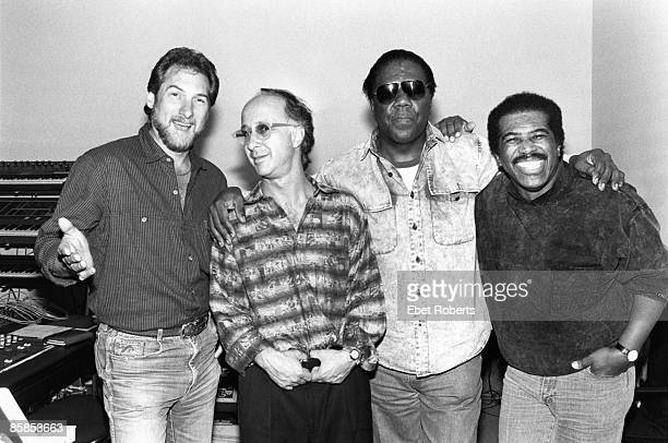 Photo of Don COVAY and Steve CROPPER and Paul SHAFFER and Ben E. KING; L-R Steve Cropper, Paul Shaffer, Don Covay and Ben E King