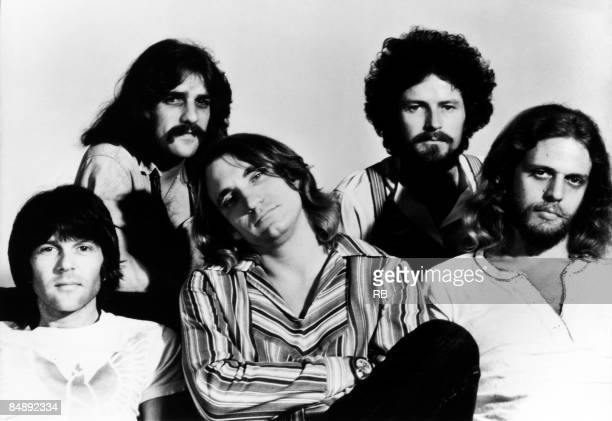 Photo of Don FELDER and Don HENLEY and Joe WALSH and Glenn FREY and Randy MEISNER and EAGLES; Posed group portrait L-R Randy Meisner, Glenn Frey, Joe...