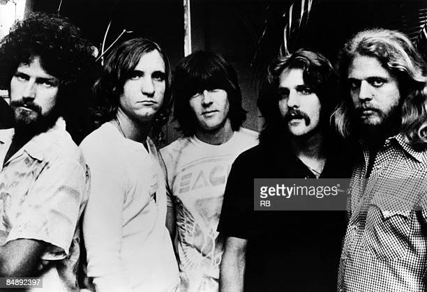 Photo of Don FELDER and Glenn FREY and Randy MEISNER and Joe WALSH and Don HENLEY and EAGLES; Posed group portrait L-R Don Henley, Joe Walsh, Randy...