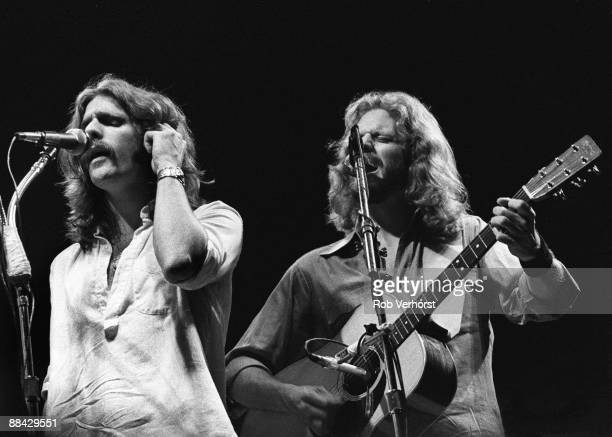 Photo of Don HENLEY and Glenn FREY and EAGLES, L-R: Glenn Frey, Don Henley - performing live onstage
