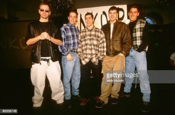 Photo of Donnie WAHLBERG and NEW KIDS ON THE BLOCK and Jordan KNIGHT and Jonathan KNIGHT and Joey McINTYRE Posed group portrait LR Donnie Wahlberg...