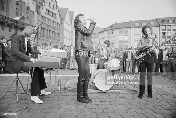 Photo of Doors, September 1968, Germany, Frankfurt, Doors, L-R: John Densmore, jim Morrison, Robbie Krieger, Ray Manzarek