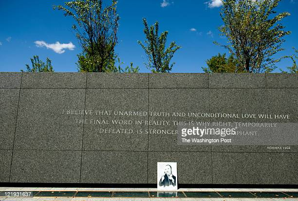 A photo of Dr Martin Luther King Jr is place below an inscription on the wall at The Martin Luther King Jr Memorial currently on view for the general...