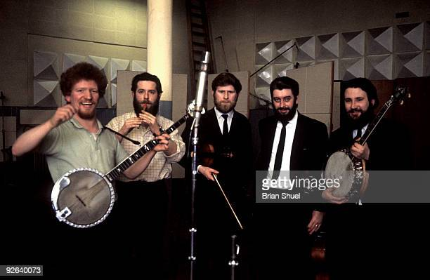 Photo of DUBLINERS Group portrait of The Dubliners recording in London LR Luke Kelly Ciaran Bourke John Sheahan Ronnie Drew and Barney McKenna