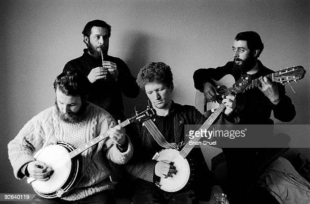 Photo of DUBLINERS The Dubliners performing as group LR Barney McKenna Ciaran Bourke Luke Kelly and Ronnie Drew
