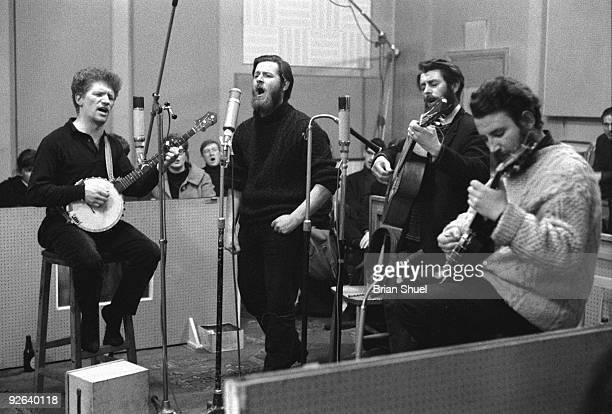 Photo of DUBLINERS The Dubliners recording their very first LP LR Luke Kelly Ciaran Bourke Ronnie Drew and Barney McKenna