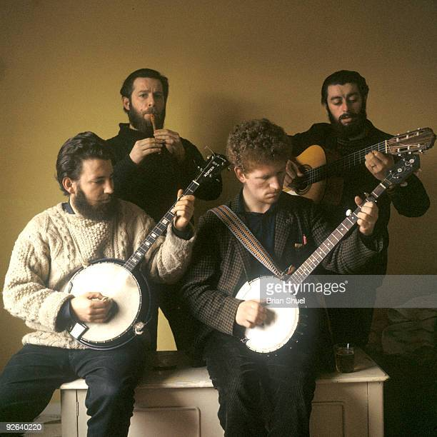 Photo of DUBLINERS The original Dubliners in London to make their first LP L R Barney McKenna Ciaran Bourke Luke Kelly and Ronnie Drew