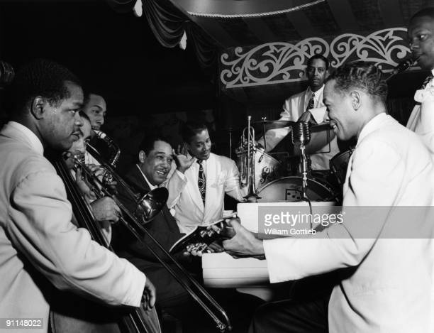 Photo of Duke ELLINGTON Ellington Combo at theAquarium Club LtoR Junior Raglin Lawrence Brown Johnny Hodges Duke EllingtonRay Nance