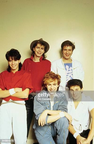 Photo of DURAN DURAN; L-R: : Andy Taylor, John Taylor, Simon Le Bon, : Nick Rhodes, Roger Taylor - posed, studio, group shot