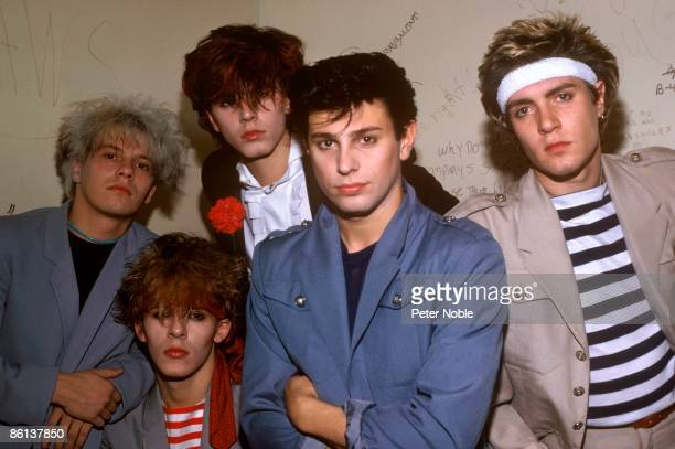 Photo of DURAN DURAN LR Andy Taylor Nick Rhodes John Taylor Roger Taylor Simon Le Bon posed studio group shot