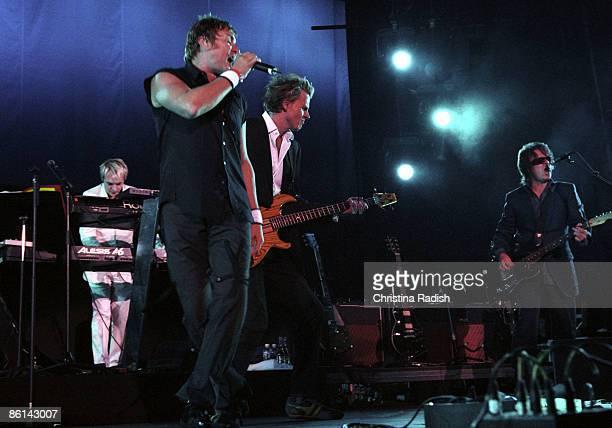 Photo of DURAN DURAN LR Nick Rhodes Simon Le Bon John Taylor Andy Taylor performing live onstage at KROQ Inland Invasion Festival