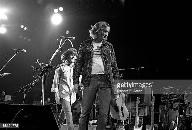 Photo of EAGLES and Joe WALSH and Randy MEISNER LR Randy Meisner and Joe Walsh leaving the stage at the end of the concert