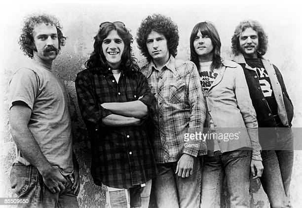 Photo of EAGLES; L-R: Bernie Leadon, Glenn Frey, Don Henley, Randy Meisner, Don Felder - posed, group shot, c.1974/1975