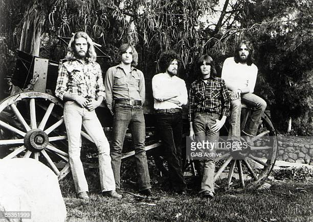 Photo of EAGLES; L-R Don Felder, Joe Walsh, Don Henley, Randy Meisner and Glenn Frey - posed, group shot