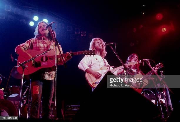 Photo of EAGLES LR Glenn Frey Don Felder and Joe Walsh performing live onstage on Hotel California tour