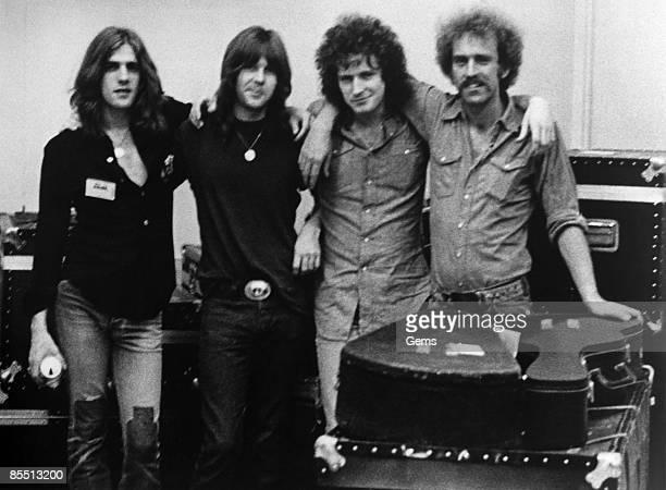USA Photo of EAGLES LR Glenn Frey Randy Meisner Don Henley Bernie Leadon posed group shot c1973