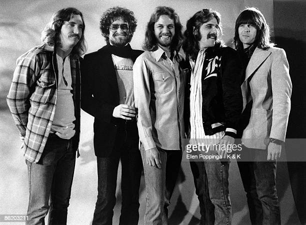 Photo of EAGLES; L-R: Joe Walsh, Don Henley, Don Felder, Glenn Frey, Randy Meisner - posed, studio, group shot - Photo: Ellen Poppinga