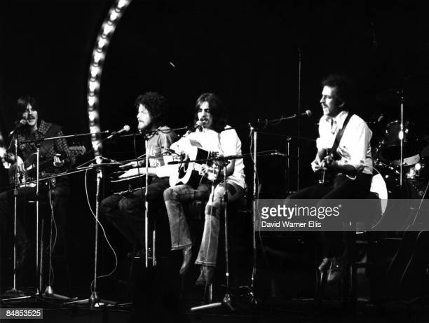 Photo of EAGLES; L-R: Randy Meisner, Don Henley, Glenn Frey and Bernie Leadon performing on Popgala TV Show in Voorburg performing on 'Pop Gala' TV...