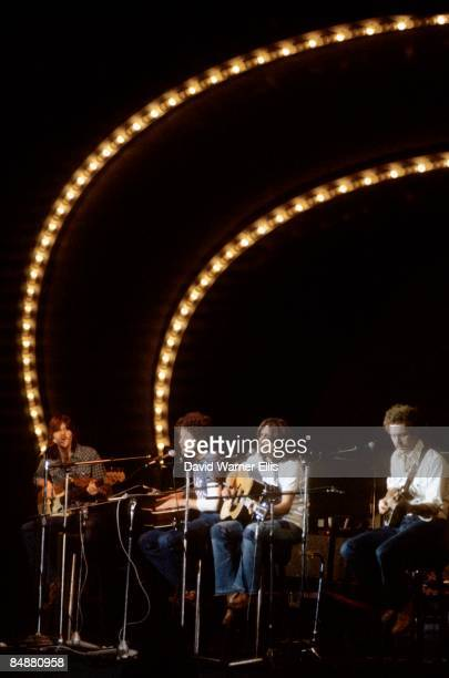 Photo of EAGLES; L-R: Randy Meisner, Don Henley, Glenn Frey, Bernie Leadon performing on Popgala TV Show in Voorburg