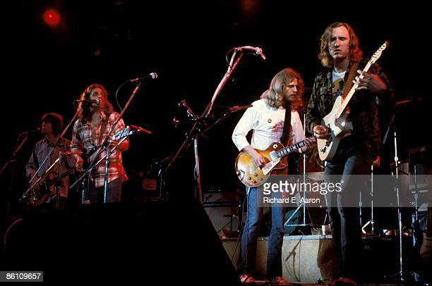 Photo of EAGLES; L-R: Randy Meisner, Glenn Frey, Don Felder and Joe Walsh performing live onstage on Hotel California tour