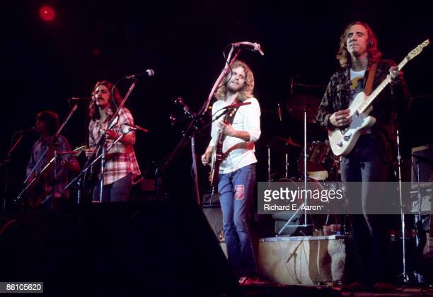 Photo of EAGLES; L-R: Randy Meisner, Glenn Frey, Don Felder, Joe Walsh performing live onstage on Hotel California tour