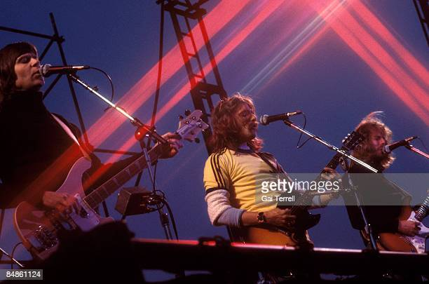 Photo of EAGLES; Randy Meisner, Glenn Frey, Don Felder performing live onstage c.1976