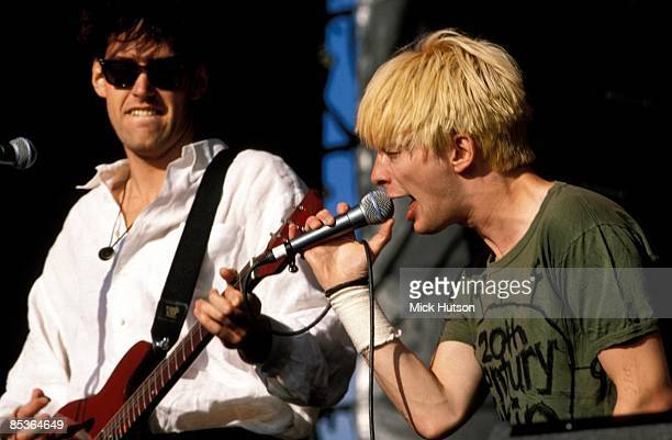 FESTIVAL Photo of Ed O'BRIEN and RADIOHEAD and Thom YORKE Ed O'Brien and Thom Yorke performing live onstage