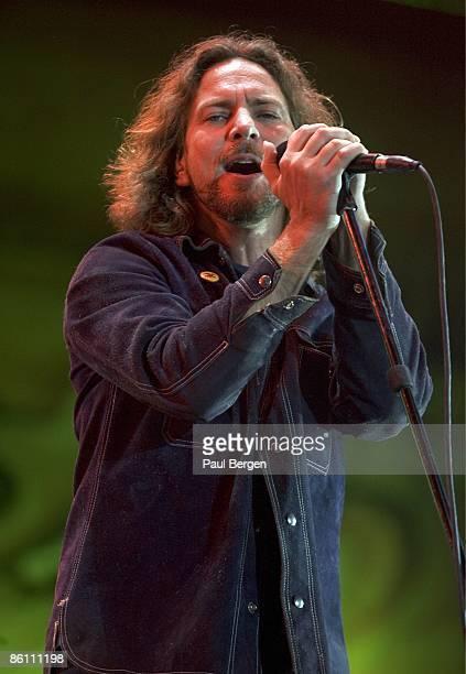 BELGIUM Photo of Eddie VEDDER and PEARL JAM Eddie Vedder performing live onstage at Rock Werchter festival