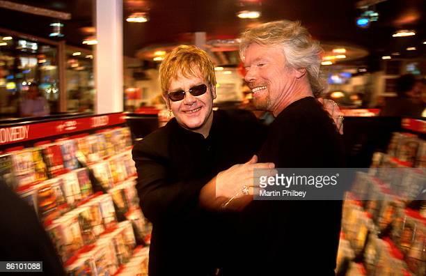 Photo of Elton JOHN Richard Branson CD shopping with Elton John Virgin Megastore Opening Chapel street Prahran