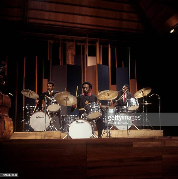 MALTINGS Photo of Elvin JONES and Max ROACH and Art BLAKEY performing on BBC TV show playing Premier drum kit drums