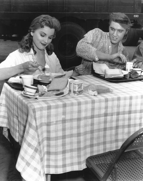 """Photo of Elvis Presley on the set of """"Love Me Tender"""""""