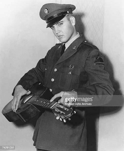 Photo of Elvis Presley, Elvis Presley Fort Hood Tx, April 1958 during his Army basic training. Photo by Michael Ochs Archives/Getty Images